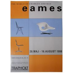 View this item and discover similar for sale at - Poster from first traveling Eames exhibition conducted by Vitra Design Museum. Trapholt Museum was the only museum that produced a poster. Vitra Design Museum, Charles & Ray Eames, Exhibition Poster, Zine, Wall Decor, Graphic Design, Antiques, Prints, Museums