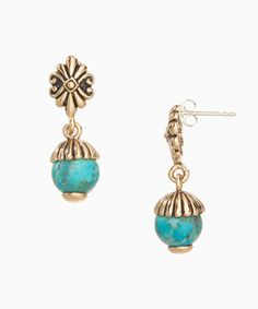 This Bronze & Turquoise Drop Earrings is perfect! #zulilyfinds