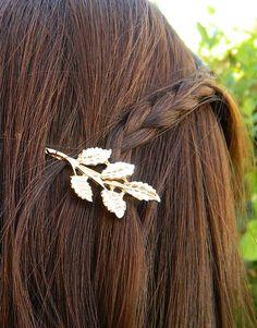 2 Gold Leaf Hair Pin Roman Style Bridal Accessory Bobby Pin Hair Clip, Vintage Brooch Pin, Wedding Bridesmaid Hair, Leaf Jewelry