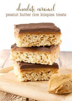 Delicious Chocolate Caramel Peanut Butter Rice Krispies Treats { lilluna.com }