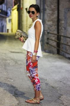 Floral trousers and peplum-perfect.