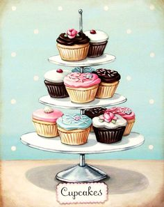 vintage bakery inspired cupcakes matted print I love this! I have little cards exactly like this.