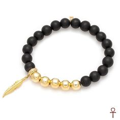 Black Onyx Gold Beaded Men Bracelet #men #bracelet #gold #black #onyx