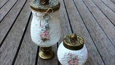 Vintage glass jar decorated with egg shell Glass Jars, Mason Jars, Diy Home Accessories, Egg Shells, Diy And Crafts, Recycling, Candle Holders, Eggs, Decoupage Ideas