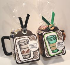 """Gift Coffee mugs  """"a Perfect Blend"""" Stampin' Up images come in rubber and digi"""