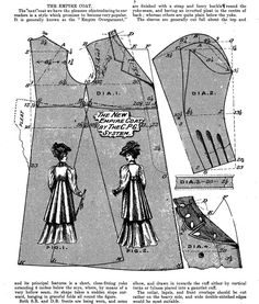 """Pattern for Woman's Edwardian  """"Empire"""" Coat  reprinted from The Cutter's Practical Guide, c. 1907"""