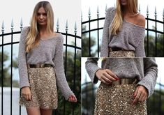 Not usually a huge fan of sparkly skirts... but with the soft oversized sweater? I dig :)