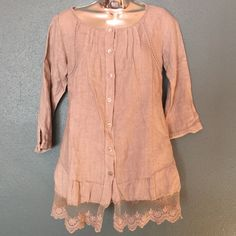 Tempo Paris Linen Top Beautiful linen and lace top. 3/4 sleeves. Also has stay tabs for shorter look. Not short on detail with crochet and lace. Ties in back for a tailored look. 100% linen. Made in Italy. Tempo Paris Tops Button Down Shirts