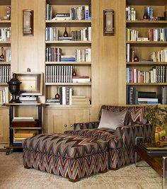 This lounge chair below with ottoman covered in Missoni (inspired) fabric is a visual delight.