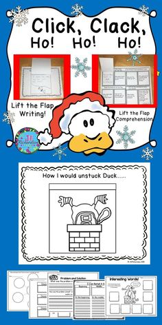 """What a fun resource this is! Use it after reading Click, Clack, Ho! Ho! Ho! by Doreen Cronin and Betsy Levin  Included: 1 Lift the Flap Comprehension Flap Book and Answer Key 1 Lift the Flap """"How I would unstuck Duck…"""" Writing Activity Animals That Got Stuck Cause and Effect Problem and Solution Interesting Words I Can Retell a Story"""