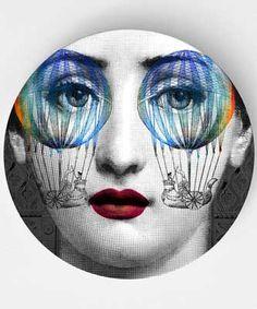 psychedelic, original melamine plates with a Lina Cavalieri theme, Cavalieri art, Cavalieri engraving, Cavalieri, Cavalieri face engraving