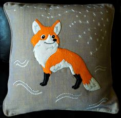 Handmade applique decorative cushion cover by NaturelandsAndCo, $32.00