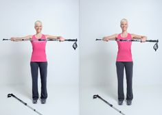 """""""The Chest Press"""" Hold one pole with both hands and slightly bent arms in front of your chest. Straighten and lower the shoulders. While holding, press the pole together and release. Challenge: While pressing the pole together, bend your knees."""