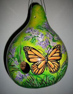 MADE TO ODER Gourd Birdhouse Monarch