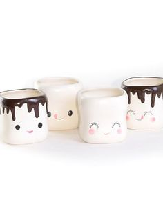 Sweet Marshmallow Mugs Set | PLASTICLAND    #marshmallow #cute #kawaii. This makes me, think of smores and of being warm and drinking hot coco on a cold day