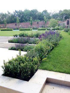 Amy Perkins Garden Design – Project: Country Estate – Hampshire Limestone paving… - All For Garden Contemporary Garden Design, Modern Landscape Design, Garden Landscape Design, Modern Landscaping, Backyard Landscaping, Traditional Landscape, Landscape Architecture, Architecture Design, Back Garden Design