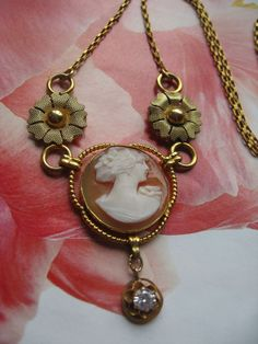Carved Shell Cameo Necklace in Gold Fill