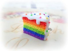 cute rainbow slice of cake from etsy - colorful clay charm
