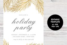 Holiday Party Invitation Template by Pixejoo on @creativemarket