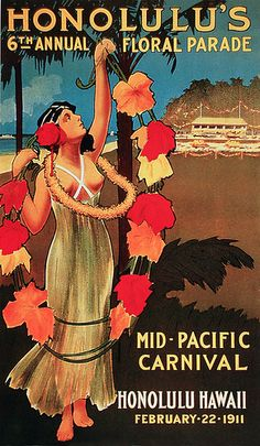 Honolulu's 6th Annual Floral Parade - Vintage Illustration Love everything Hawaiian...especially vintage Hawaiian! #rfdreamboard