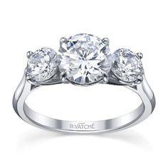 18K Three Stone Diamond Engagement Ring By Vatche Designs.