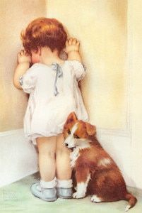 Gutmann, Bessie Pease - Bessie Pease Gutmann - Mama Thought Bessie Needed to be Taught a Lesson so She Told Her to Stand in the Corner. She Wasn't Really Very Angry Though and Gave Bessie a Reprieve After Only Five Minutes. Bessie Pease Gutmann, Foto Baby, Vintage Cards, Vintage Children, Belle Photo, Vintage Prints, Online Art, Cute Pictures, Fine Art Prints