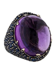 18K Amethyst & Sapphire Cocktail Ring