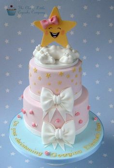 Pastel christening cake with oversized twinkle star. Top tier is chocolate and bottom tier is vanilla.
