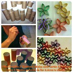Mural de flores multicolor: Fácil, económico, original y súper decorativo!!  Sigue éstos pasos y diviértete: 1. Recicla rollos de papel de baño 2. Quita los residuos de papel y píntalos con tus colores favoritos  3. Córtalos transversalmente (ancho 2 a 3 cm) para formar los pétalos 4. Pega los pétalos de un extremo para formar las flores (pegamento de silicona) y fíjalos con pinzas hasta que seque el pegamento 5. Arma tu diseño y adorna tu casa!!