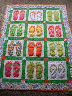 Love the fun flip-flop quilt, my daughter loves flip flops!  She is the type to wear them in the winter.  I think this would be neat to make with different sizes of flip flops to represent the growth from baby to adult.