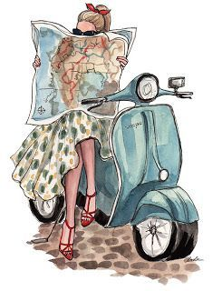 Italian Style: rent a Vespa and take your map to see where the day leads you! illustration by inslee Art And Illustration, Vespa Illustration, Fashion Sketches, Fashion Illustrations, Illustration Fashion, Drawing Fashion, Fashion Painting, Vintage Illustrations, Retro