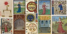Creative, easygoing + charming Libra (scales), as depicted in medieval calendars