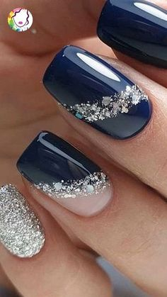 - The most beautiful picture for bright nails, . - - - The most beautiful picture for bright nails . - – The most beautiful picture for light nails, … – – – The most beautiful picture for ligh - Stylish Nails, Trendy Nails, Elegant Nail Art, Elegant Nail Designs, Glitter Nail Designs, Navy Blue Nail Designs, Navy Blue Nails, Bright Nail Designs, Popular Nail Designs