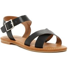 Abound Meesha Flat Sandal ($30) ❤ liked on Polyvore featuring shoes, sandals, black faux leather, ankle strap shoes, black strappy sandals, black ankle strap sandals, flat sandals and criss cross sandals