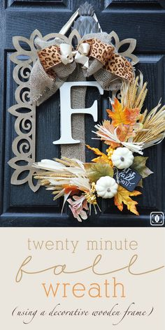 Fall Wreath DIY Using a Wooden Frame! via Charming in Charlotte www.charmingincharlotte.blogspot.com