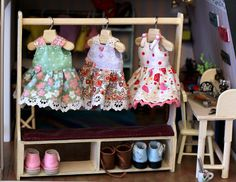 3 sundresses for Pukifee and handmade clothes rack are available.
