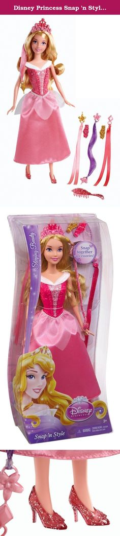 Disney Princess Snap 'n Style Sleeping Beauty Doll. he Disney Basic Hairplay Sleeping Beauty Doll lets you style your favorite Disney princess' hair in a snap. This adorable doll has made Aurora's beautiful blonde hair extra long to accommodate all kinds of hairstyling fun. The Disney princess doll comes with a brush, two barrettes, two sparkly hair extensions and two satiny ribbons. Pretty pink and purple accessories beautifully complement Sleeping Beauty's eye-popping dress. The hair...