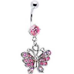 Exquisite Pink Cubic Zirconia Butterfly Belly Ring!     This brand new exquisite butterfly belly ring features sparkling pink cz stones and a stainles
