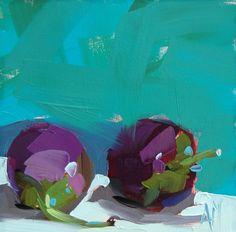 Deux aubergines original nature morte Huile sur toile de Angela Moulton 6 x 6 pouces sur panneau