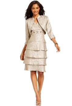 Brides: R&M Richards. Tiered embellished dress and jacket, $139, R&M Richards available at Macy's