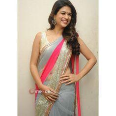 Shraddha Das Grey Color Designer Saree