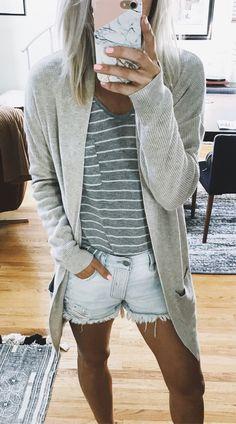 372ed7d7b  summer  outfits Grey Cardigan + Grey Striped Tee + Denim Short Fashion  Ideas