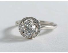 1.01 Carat Diamond Plain Shank Floating Halo Engagement Ring | Blue Nile Engagement Rings