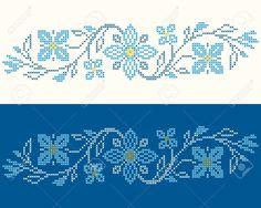 Los Elementos De Diseño Para El Bordado De Punto De Cruz En Estilo étnico Tradicional Ucraniana. Los Colores Azules, Ilustración Vectorial. Ilustraciones Vectoriales, Clip Art Vectorizado Libre De Derechos. Image 23206066.