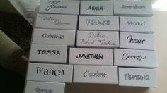 My diy jenga games. Family names.