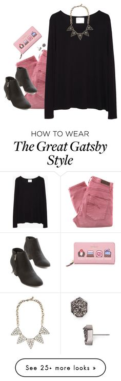 """""""""""he looked at her the way all girls want to be looked at"""" -Great Gatsby"""" by kaley-ii on Polyvore featuring Nobody Denim, La Garçonne Moderne, Chelsea Crew, Lulu Frost, Kendra Scott and Kate Spade"""