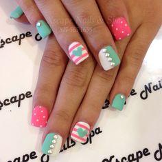matte min and pink nail design