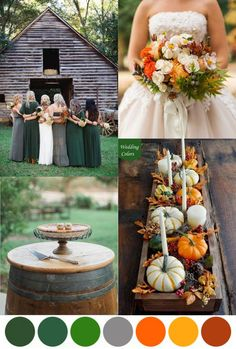 Orange, Green & Grey Fall Wedding Palette
