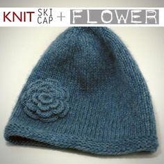 cool flower embellished knit hat pattern: FREE
