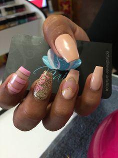 Acrylic nails, nails, nails art, nude nails